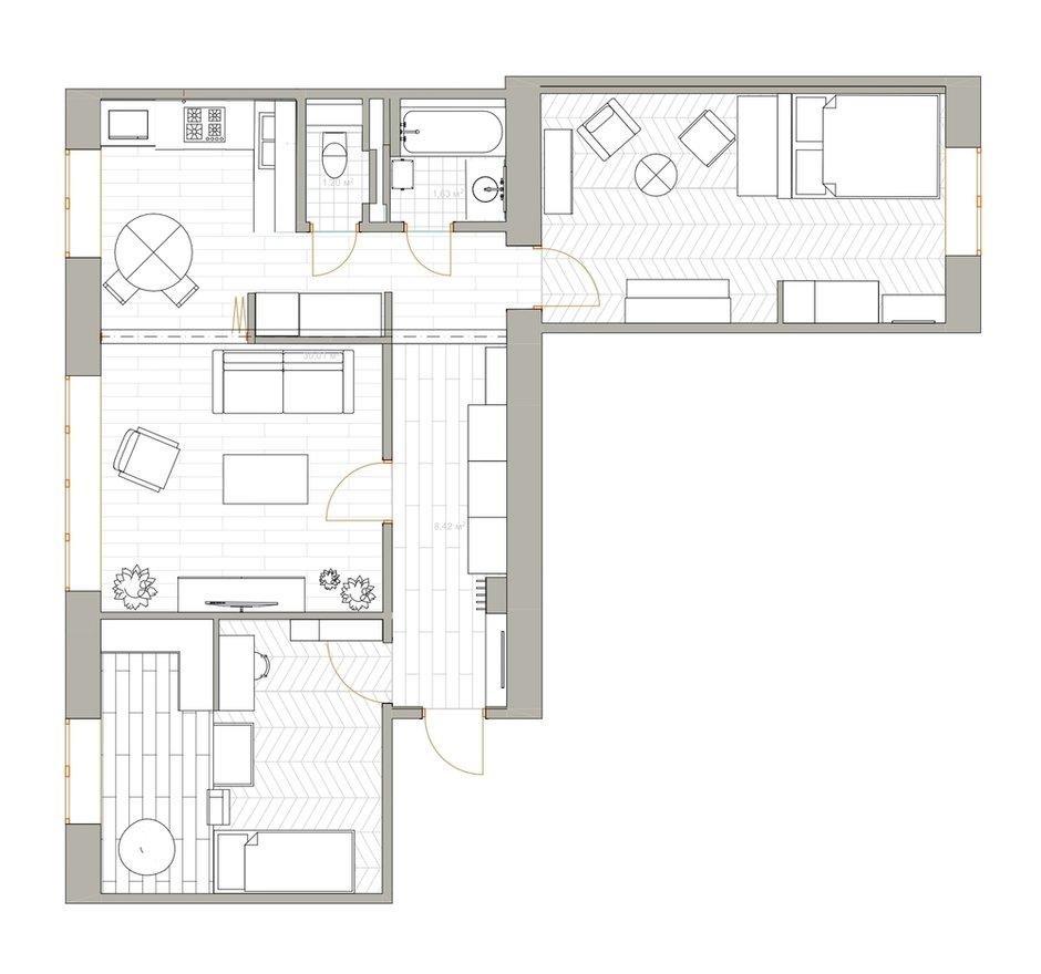 Фотография: Планировки в стиле , Эклектика, Квартира, Проект недели, Москва, 3 комнаты, 60-90 метров, Валерия Шиманская – фото на INMYROOM