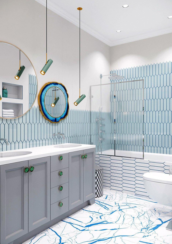 Поскольку рассчитан санузел на двоих, тумба запланирована с двумя раковинами, двумя зеркалами и симметричными секциями для хранения, для сына и дочери.