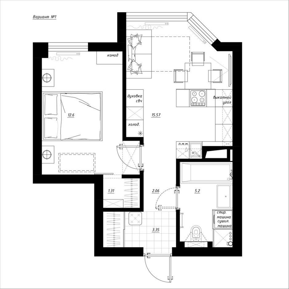 Фотография:  в стиле , Квартира, Перепланировка, Никита Зуб, Монолитный дом, 1 комната, до 40 метров, планировочная среда – фото на INMYROOM