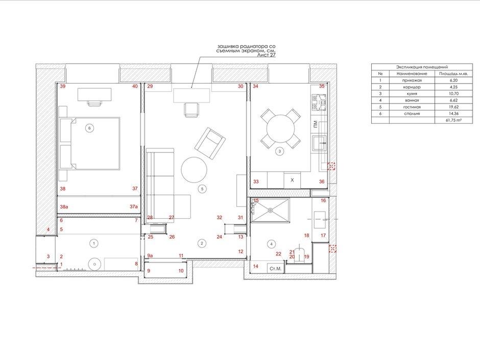 Фотография: Планировки в стиле , Квартира, Проект недели, Москва, Сталинка, 2 комнаты, 60-90 метров, Анна Зуева – фото на INMYROOM