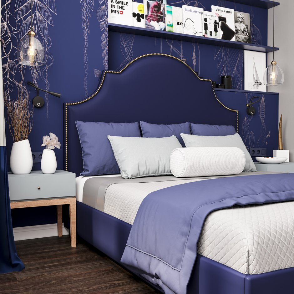 Фотография: Спальня в стиле Современный, Эклектика, Квартира, Белый, Проект недели, Синий, Коричневый, 1 комната, 40-60 метров, Tabooret – фото на INMYROOM