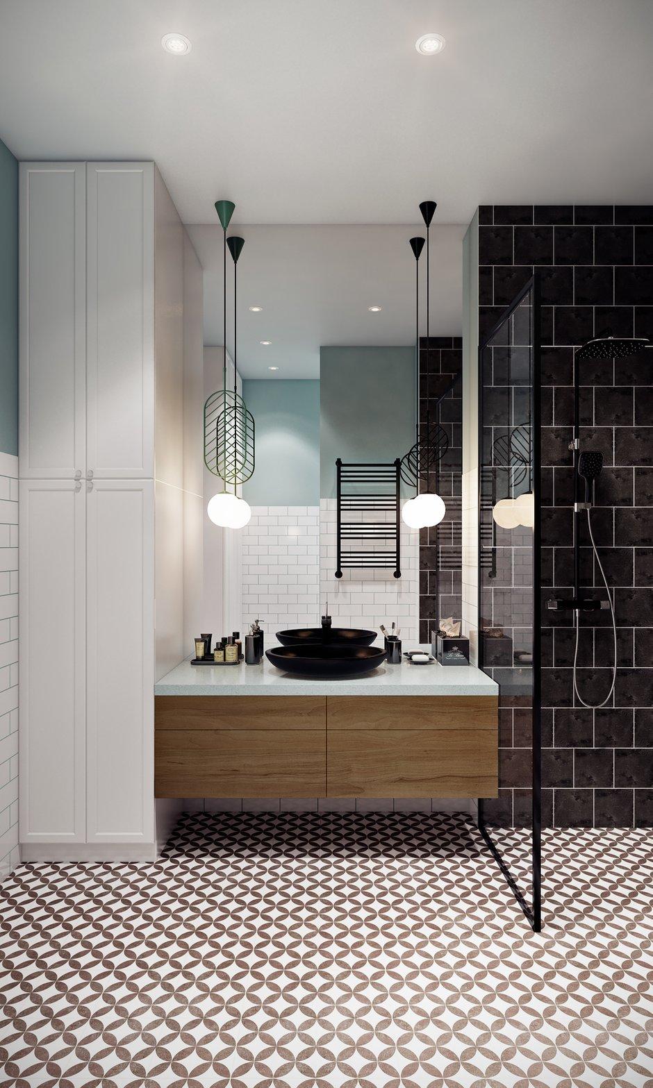 Фотография: Ванная в стиле Скандинавский, Квартира, Проект недели, Samsung, Co:Interior, 2 комнаты, 60-90 метров, Москав, mid-century modern – фото на INMYROOM