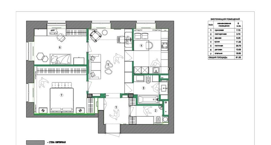Фотография: Планировки в стиле , Современный, Квартира, Проект недели, Москва, Сталинка, 3 комнаты, 60-90 метров, VO Concept – фото на INMYROOM