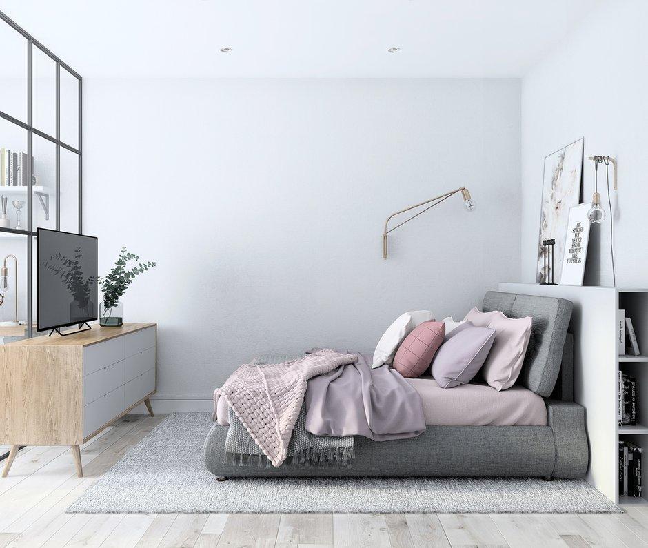 Фотография: Спальня в стиле Скандинавский, Квартира, Проект недели, Балашиха, Монолитный дом, 4 и больше, Более 90 метров, Нина Шуберт – фото на INMYROOM