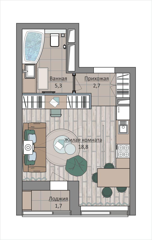 Фотография:  в стиле , Квартира, Студия, Перепланировка, до 40 метров, ЖК «Символ», Донстрой – фото на INMYROOM