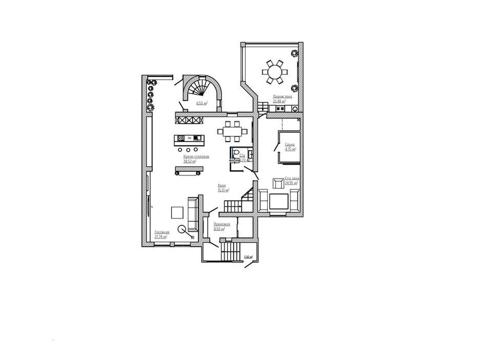 План расстановки мебели, 1 этаж