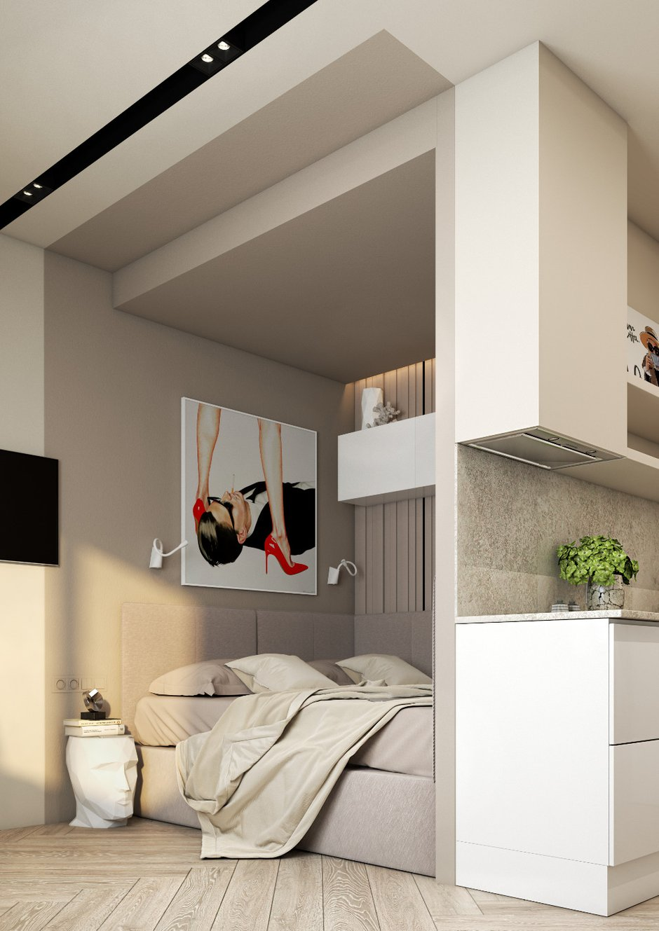 Фотография: Спальня в стиле Современный, Малогабаритная квартира, Квартира, Студия, Проект недели, Москва, до 40 метров, Ольга Катюк – фото на INMYROOM