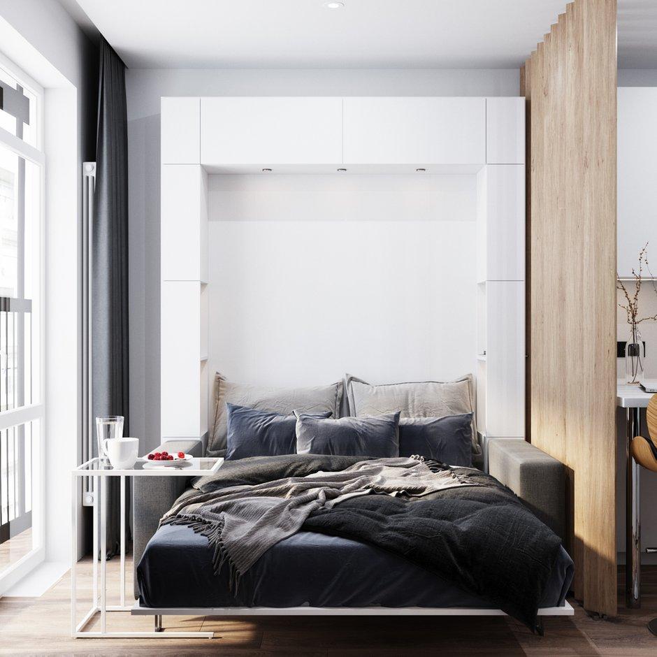 Фотография: Спальня в стиле Минимализм, Современный, Квартира, Студия, Белый, Проект недели, Серый, Голубой, до 40 метров, ПРЕМИЯ INMYROOM, Олеся Еранцева – фото на INMYROOM