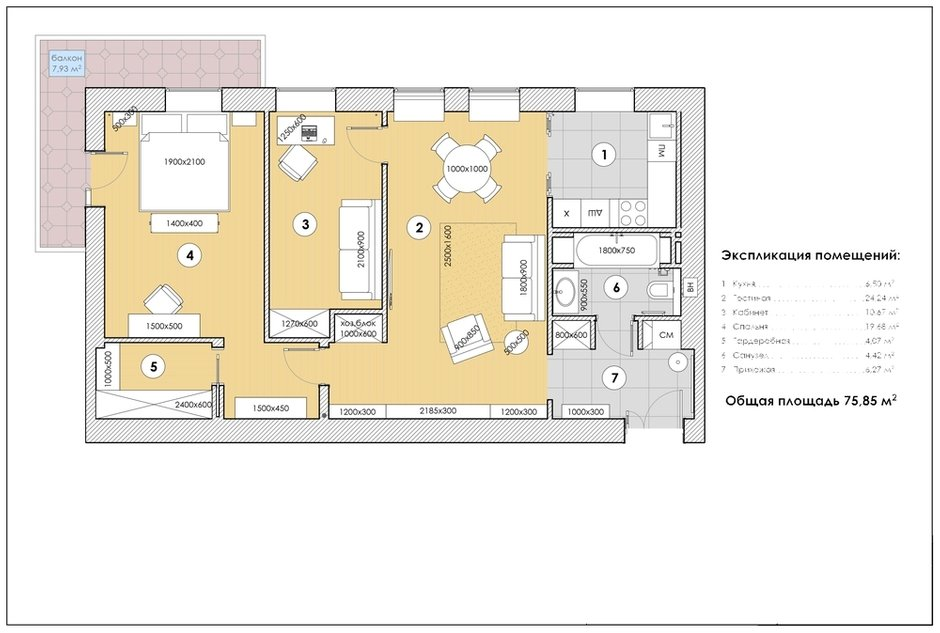 Фотография:  в стиле , Классический, Современный, Квартира, Проект недели, Санкт-Петербург, 3 комнаты, 60-90 метров, Наталья Комова – фото на INMYROOM