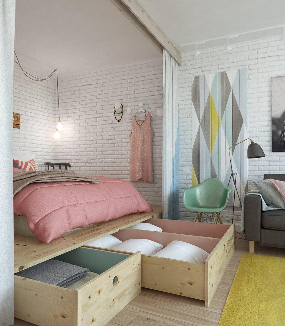 Фотография: Спальня в стиле Лофт, Скандинавский, Эклектика, Малогабаритная квартира, Квартира, Планировки, Мебель и свет – фото на INMYROOM