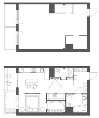 Фотография: Планировки в стиле , Современный, Квартира, Проект недели, Московская область, 1 комната, 40-60 метров, Анна Моджаро, ПРЕМИЯ INMYROOM – фото на INMYROOM