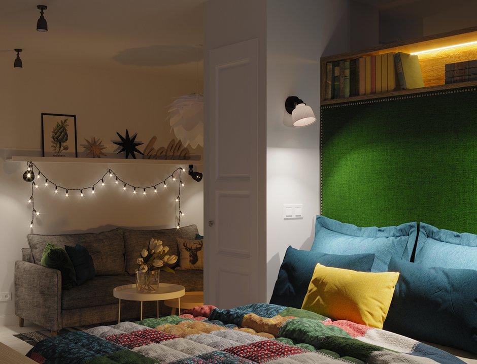 Фотография: Спальня в стиле Скандинавский, Квартира, Проект недели, Московская область, 1 комната, до 40 метров, Ира Носова – фото на INMYROOM