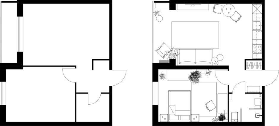 Фотография: Планировки в стиле , Квартира, Проект недели, Москва, Estima, Монолитный дом, 2 комнаты, 40-60 метров, Диана Ибрагимова, Алина Ибрагимова – фото на INMYROOM