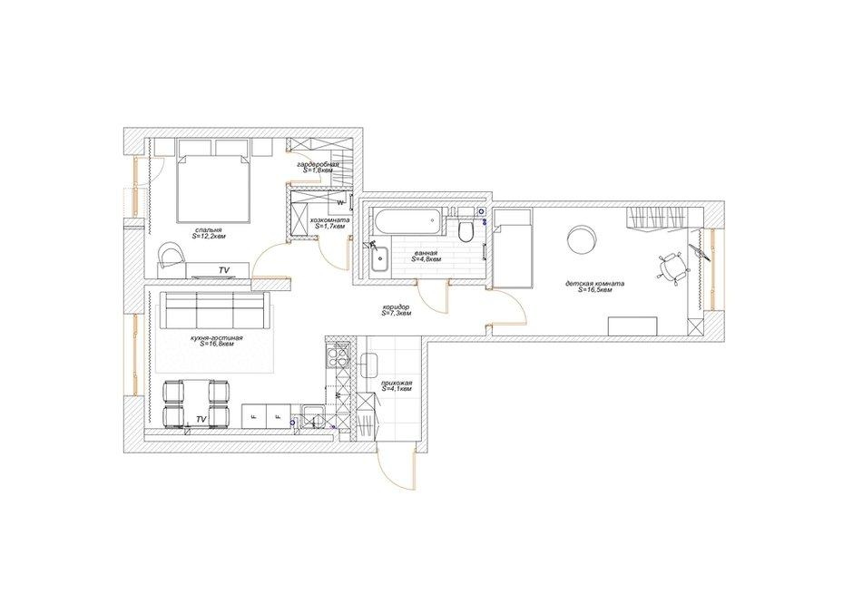 Фотография: Планировки в стиле , Современный, Квартира, Проект недели, Новосибирск, 3 комнаты, 60-90 метров, Студия 3D, Полина Марченко – фото на INMYROOM