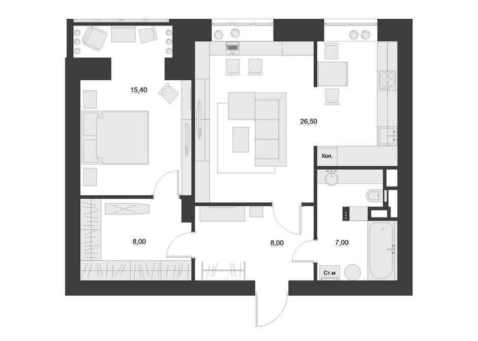 Фотография: Планировки в стиле , Скандинавский, Квартира, Белый, Проект недели, Желтый, Юлия Чернова, Смоленск, много ИКЕА, новостройка, Монолитный дом, 2 комнаты, 60-90 метров – фото на INMYROOM