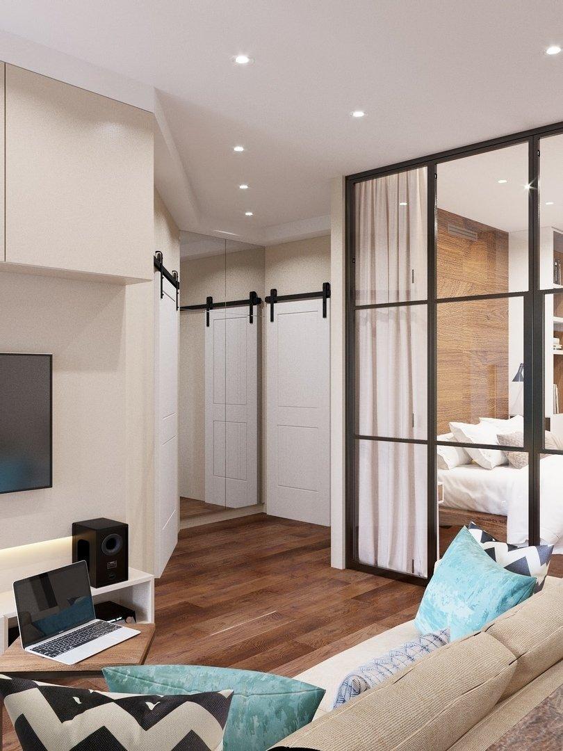Фотография: Гостиная в стиле Современный, Квартира, Проект недели, Химки, Монолитный дом, 3 комнаты, 60-90 метров, Анна Русскина – фото на INMYROOM