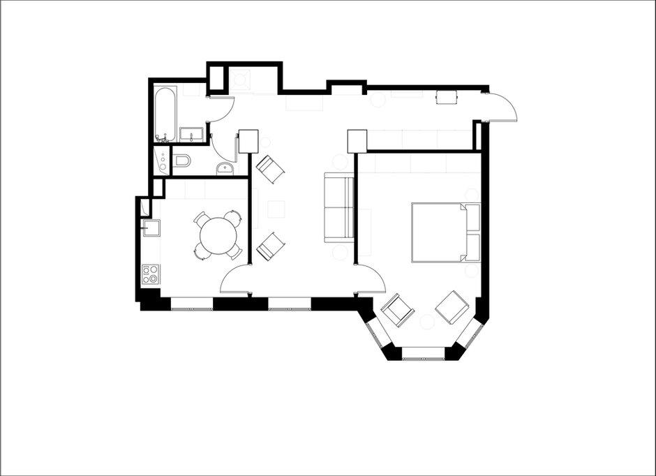 Фотография: Планировки в стиле , Проект недели, Анастасия Каменских, Lavka-design, Сталинка, 2 комнаты, 60-90 метров – фото на INMYROOM
