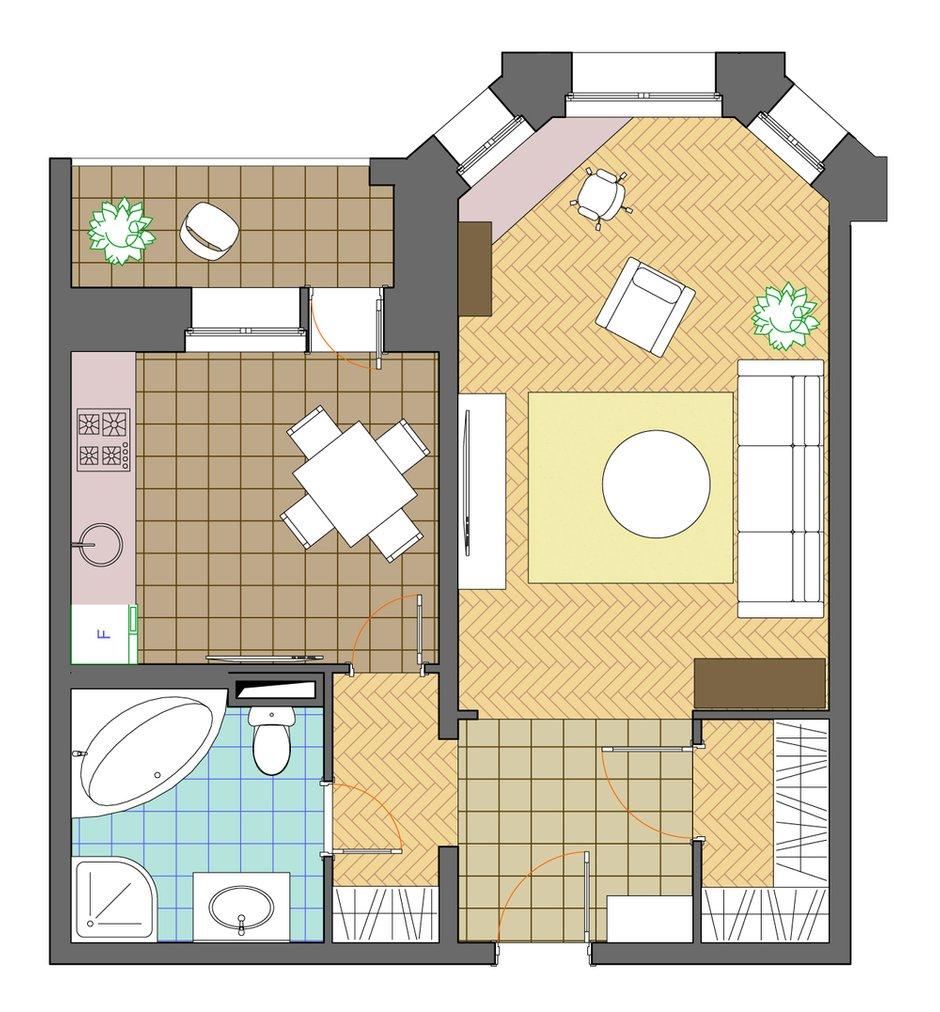 Фотография: Планировки в стиле , Квартира, Дома и квартиры, Перепланировка, Переделка, И-79-99, Панельный дом, 1 комната, 40-60 метров – фото на INMYROOM