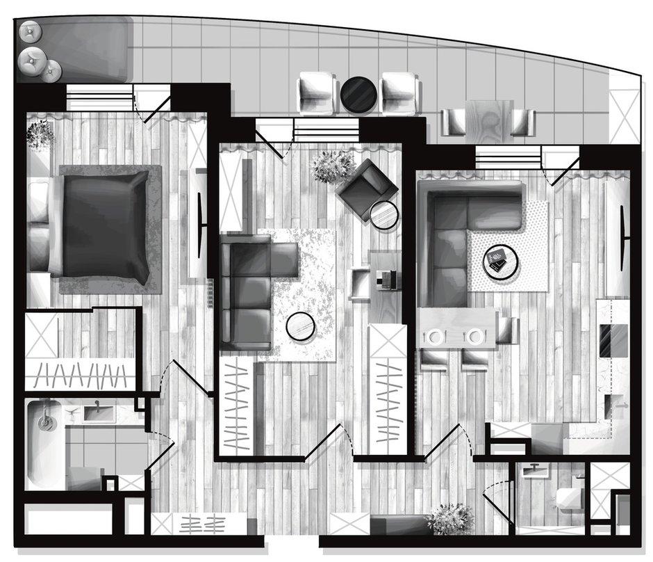 Фотография: Планировки в стиле , Скандинавский, Современный, Квартира, Проект недели, Санкт-Петербург, 3 комнаты, 60-90 метров, Олег Минц – фото на INMYROOM