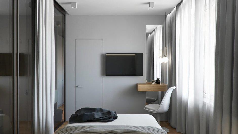 Фотография: Спальня в стиле Современный, Квартира, Проект недели, Бежевый, Серый, 2 комнаты, 40-60 метров, Олеся Березовская – фото на INMYROOM