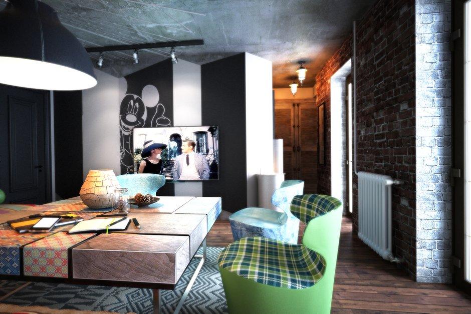Фотография: Гостиная в стиле Эклектика, Лофт, Квартира, Дома и квартиры – фото на INMYROOM