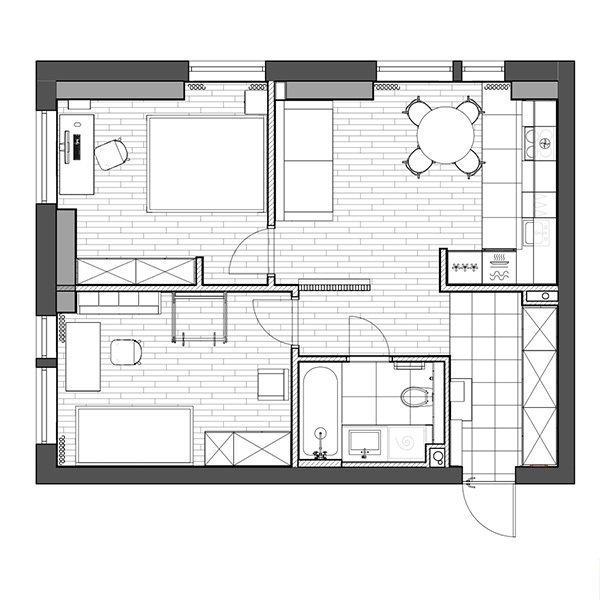Фотография: Планировки в стиле , Современный, Квартира, Проект недели, Красногорск, 2 комнаты, 40-60 метров, One Line Design – фото на INMYROOM