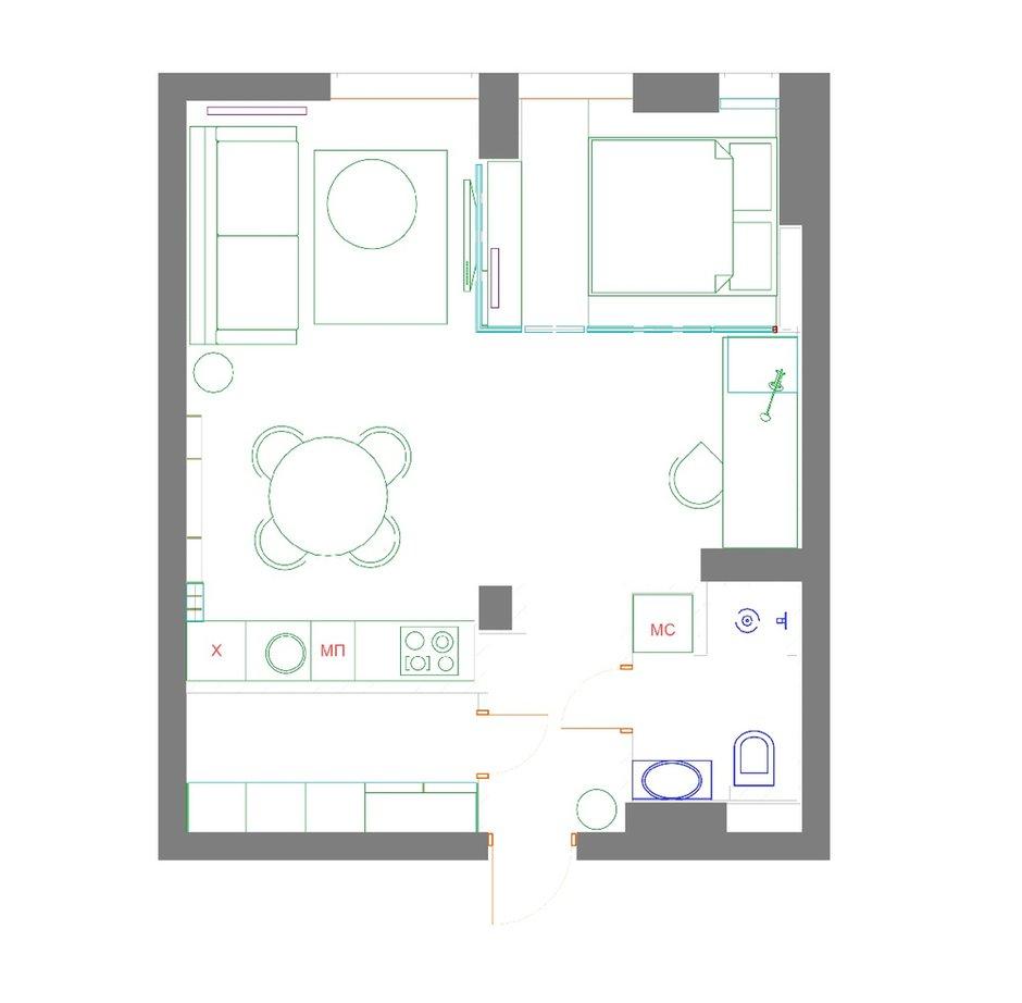 Фотография: Планировки в стиле , Квартира, Проект недели, 2 комнаты, 40-60 метров, Елена Фатеева, Fateeva Design – фото на INMYROOM