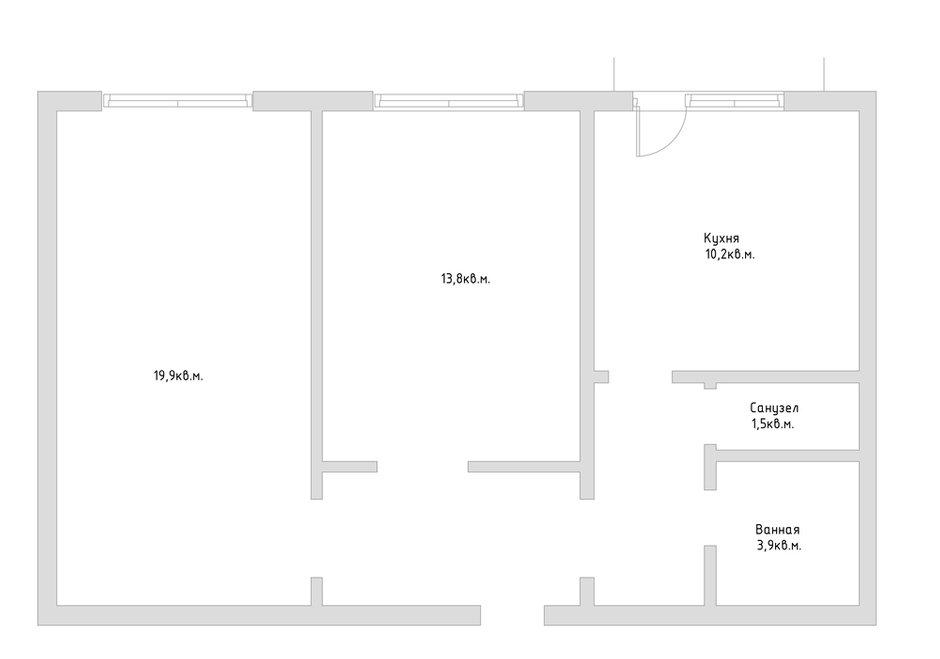 Типовая планировка в двухкомнатной квартире серии КОПЭ