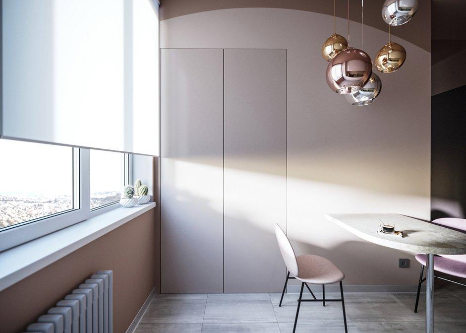Фотография: Кухня и столовая в стиле Современный, Минимализм, Спальня, Белый, Проект недели, Розовый, 1 комната, до 40 метров, ПРЕМИЯ INMYROOM – фото на INMYROOM