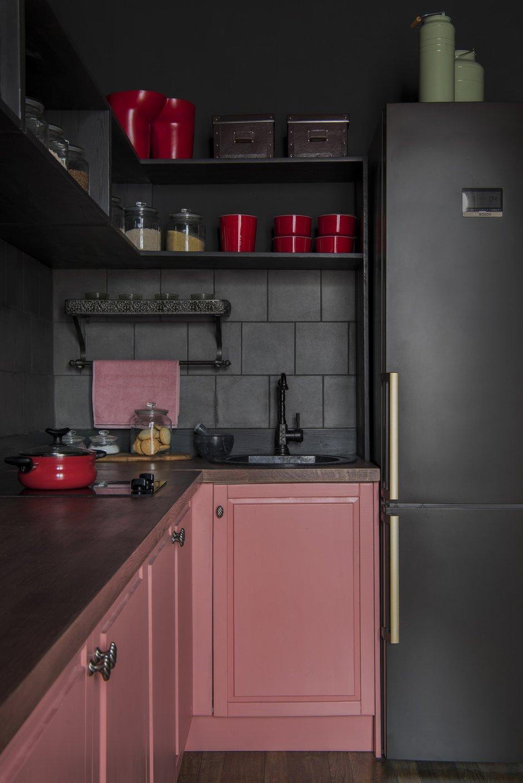 Фотография: Кухня и столовая в стиле Эклектика, Квартира, Проект недели, Москва, 1 комната, 2 комнаты, до 40 метров, 40-60 метров, Наталия Турченко – фото на INMYROOM