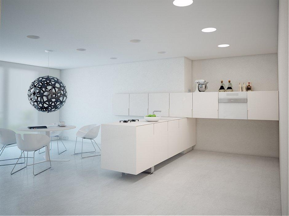 Фотография: Кухня и столовая в стиле Современный, Хай-тек, Квартира, Цвет в интерьере, Дома и квартиры, Белый – фото на INMYROOM