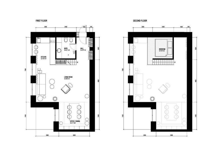 Фотография: Планировки в стиле , Современный, Эклектика, Квартира, Студия, Проект недели, Лондон, 1 комната, 40-60 метров, Полина Казакова – фото на INMYROOM