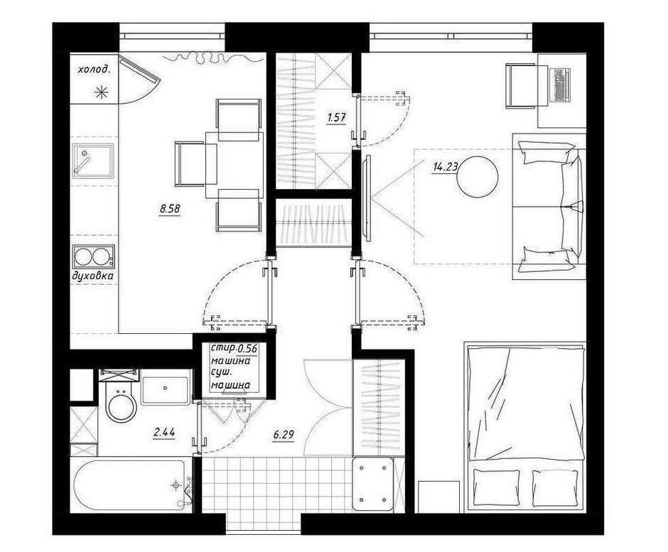 Фотография: Планировки в стиле , Квартира, Перепланировка, Московская область, Никита Зуб, 1 комната, до 40 метров, планировочная среда – фото на INMYROOM