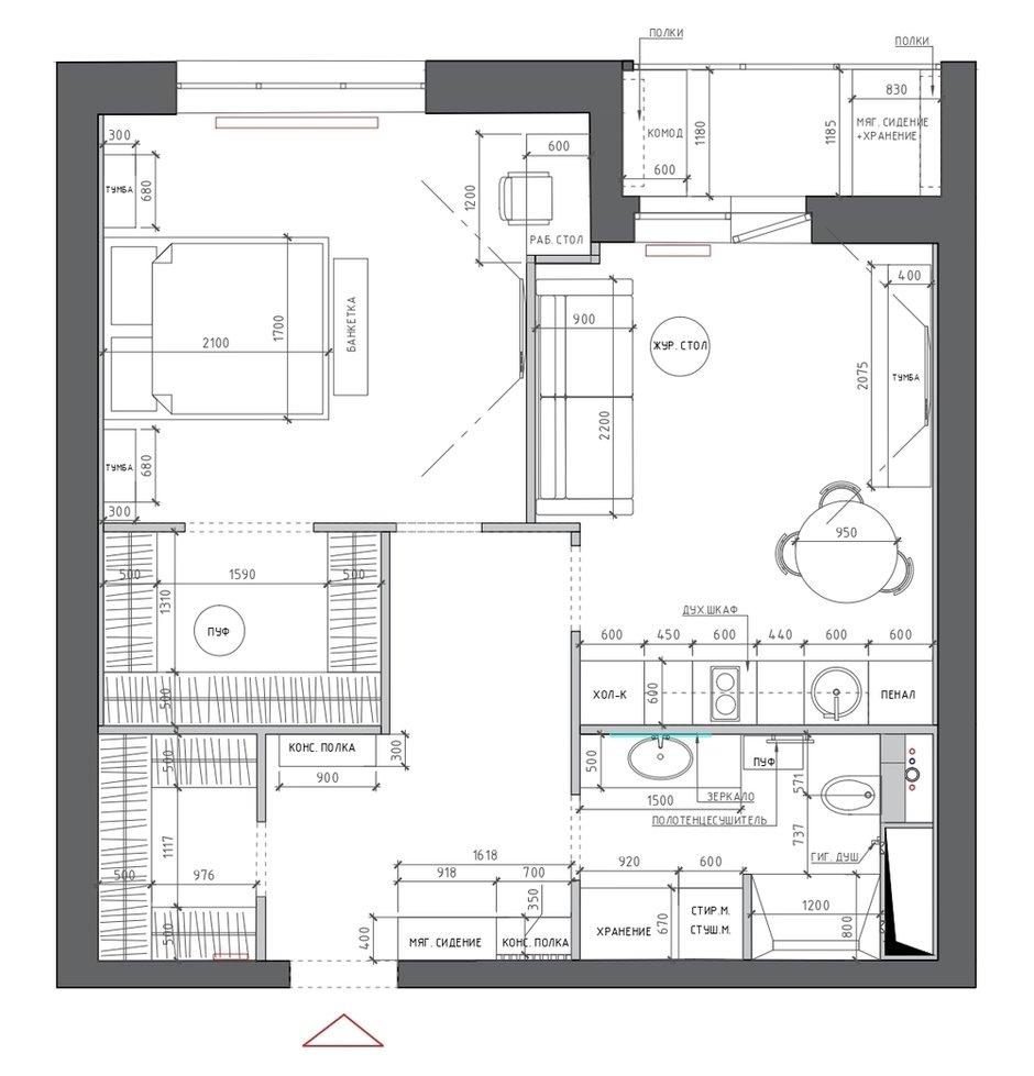 Фотография: Планировки в стиле , Современный, Квартира, Проект недели, Москва, 2 комнаты, 40-60 метров, Марина Светлова – фото на INMYROOM