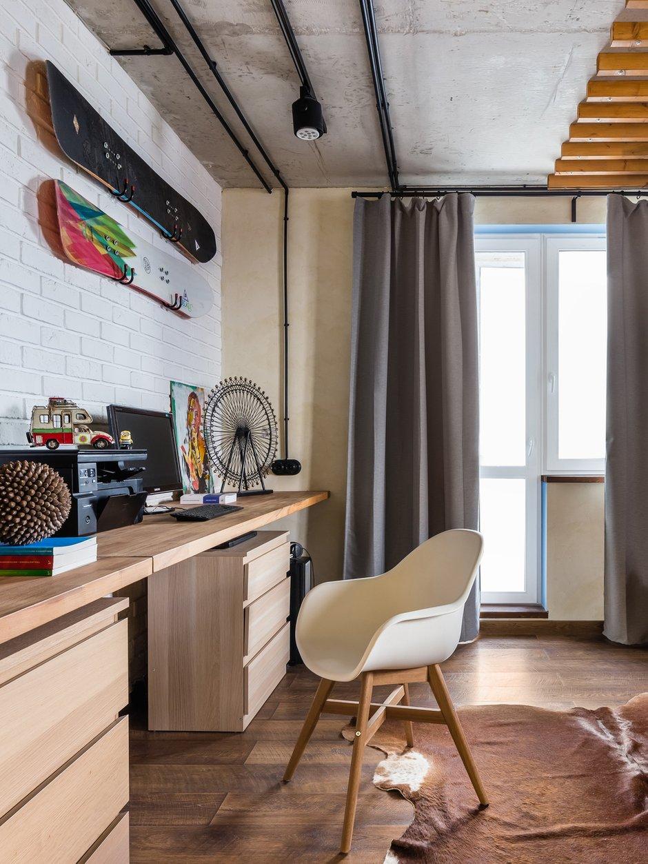 Фотография: Кабинет в стиле Лофт, Квартира, Проект недели, Самара, 1 комната, до 40 метров, Екатерина Малмыгина – фото на INMYROOM
