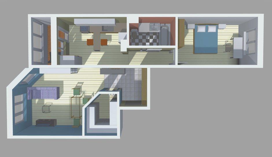 Фотография: Планировки в стиле , Квартира, Перепланировка, ИП-46с, дом серии ИП-46с, двухкомнатная квартира в ИП-46с, перепланировка двушки в ИП-46с, перепланировка двухкомнатной квартиры в ИП-46с, варианты перепланировки двухкомнатной квартиры, как обустроить двушку для пары, как обустроить двухкомнатную квартиру для пары с детьми, идеи перепланировки, перепланировка в ИП-46с – фото на INMYROOM