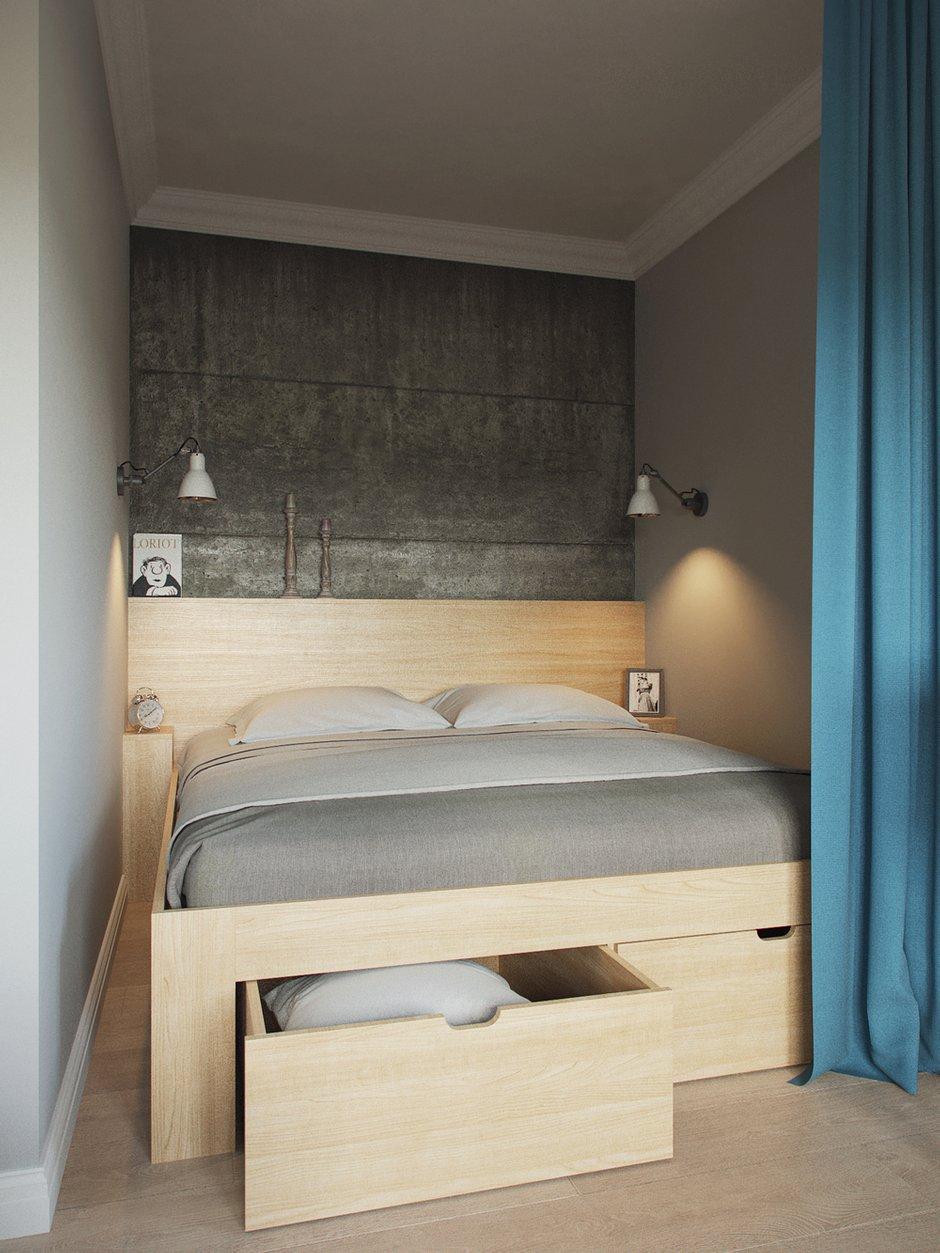 Фотография: Спальня в стиле Скандинавский, Малогабаритная квартира, Квартира, Проект недели, Москва, Ксения Драпей – фото на INMYROOM