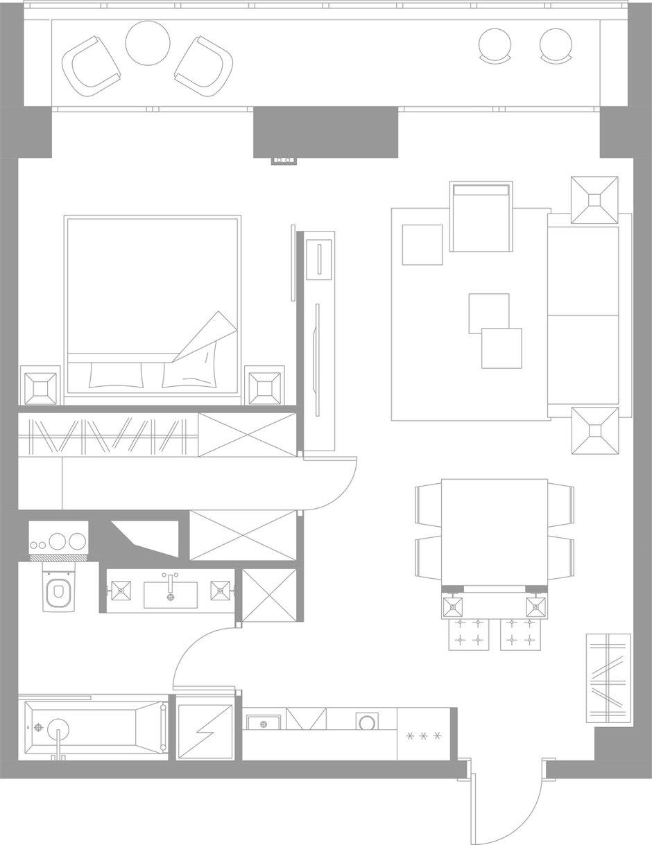 Фотография: Планировки в стиле , Квартира, Проект недели, Москва, Кирпичный дом, 1 комната, 40-60 метров, Студия TS Design – фото на INMYROOM