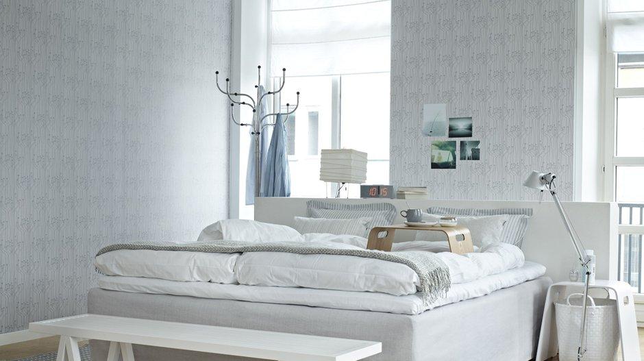 Фотография: Спальня в стиле Скандинавский, Современный, Декор интерьера, Дизайн интерьера, Цвет в интерьере, Обои, Стены, Эко – фото на InMyRoom.ru