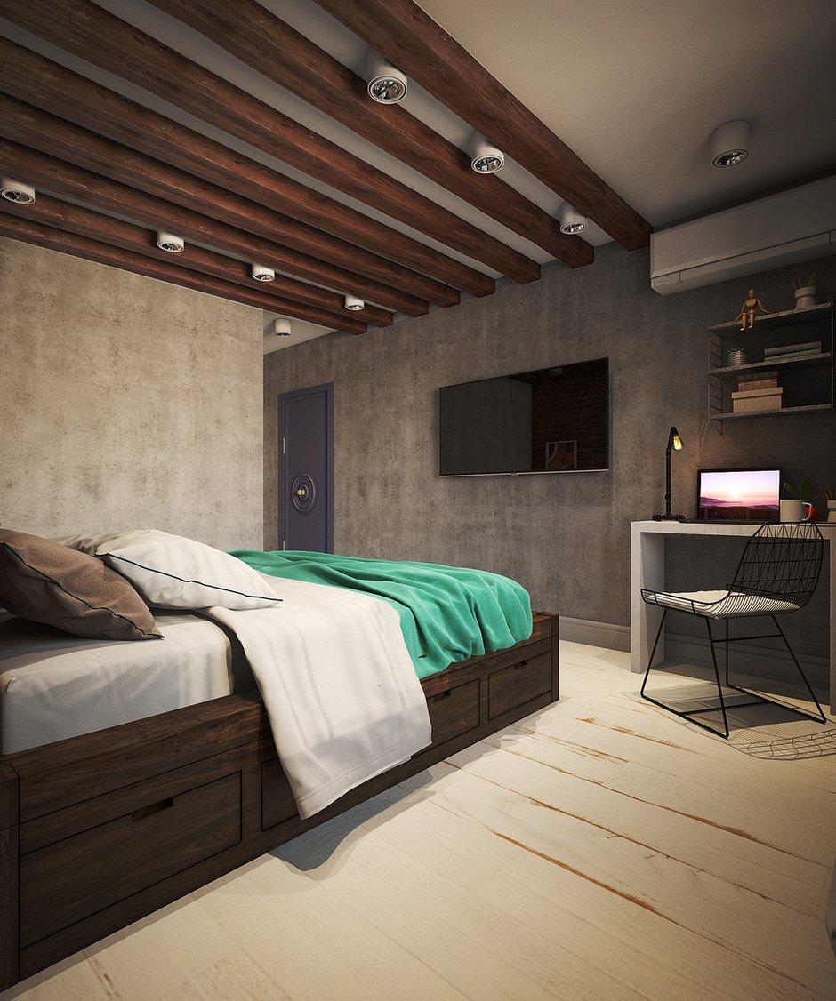Фотография: Спальня в стиле Лофт, Малогабаритная квартира, Квартира, Московская область, II-49, Панельный дом, 2 комнаты, 40-60 метров, Диана Пономарева – фото на INMYROOM