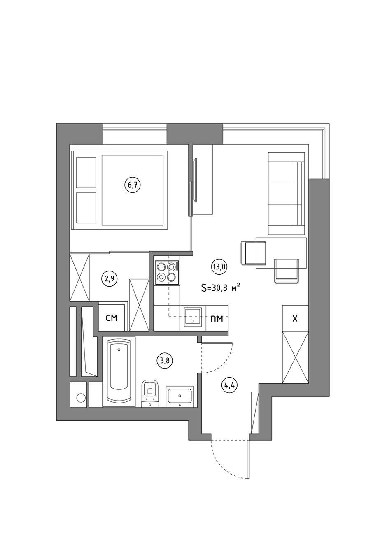 Фотография:  в стиле , Квартира, Студия, Перепланировка, Красногорск, до 40 метров, Анастасия Шарапова – фото на INMYROOM