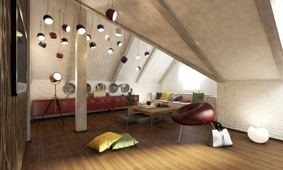 Фотография: Гостиная в стиле Лофт, Дом, Мансарда – фото на InMyRoom.ru