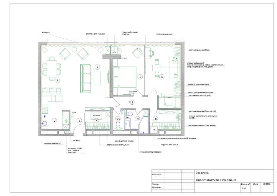 Фотография: Планировки в стиле , Современный, Квартира, Проект недели, Москва, Geometrium, Монолитный дом, 3 комнаты, Более 90 метров, ЖК «Лайнер» – фото на INMYROOM