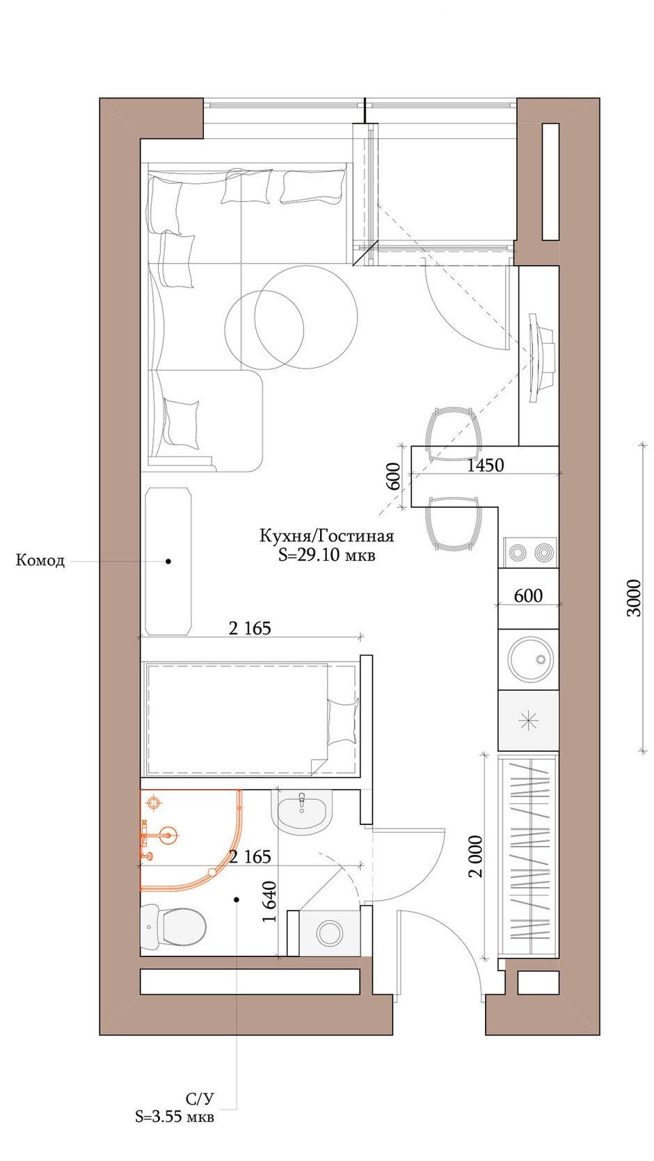 Фотография: Планировки в стиле , Квартира, Студия, Проект недели, Москва, Монолитный дом, до 40 метров, Инна Азорская, энциклодпедия_малогабаритка, Kronospan – фото на INMYROOM