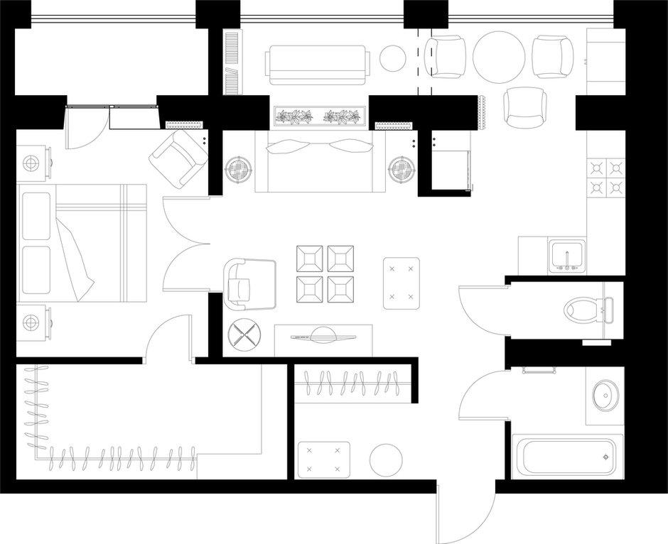 Фотография: Планировки в стиле , Квартира, Проект недели, Монолитный дом, 2 комнаты, 40-60 метров, Наталья Митракова, ЖК «Маршал» – фото на INMYROOM