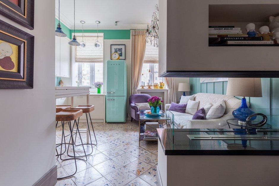 Фотография: Гостиная в стиле Прованс и Кантри, Квартира, Проект недели, Москва, Кирпичный дом, 2 комнаты – фото на INMYROOM