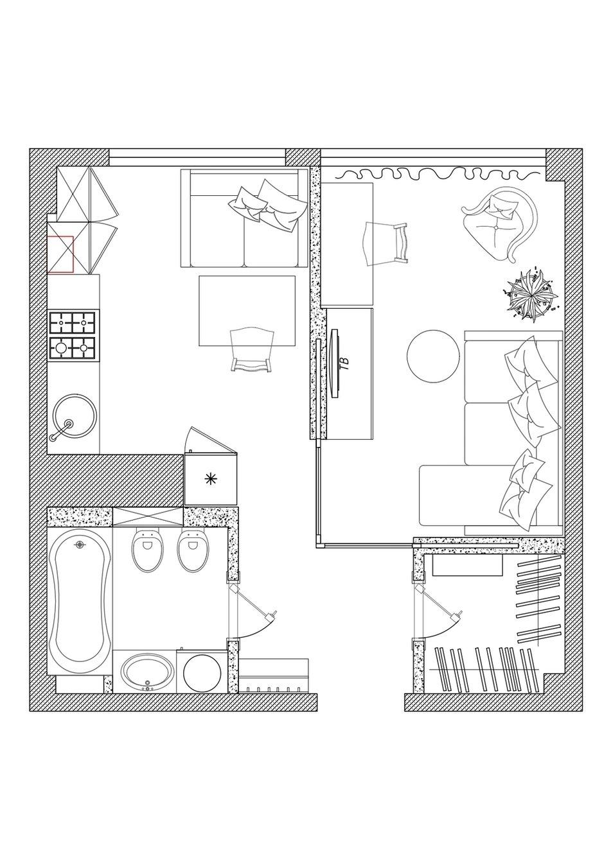 Фотография: Планировки в стиле , Современный, Малогабаритная квартира, Квартира, Проект недели, Сочи, 1 комната, до 40 метров, Татьяна Кириченко – фото на INMYROOM