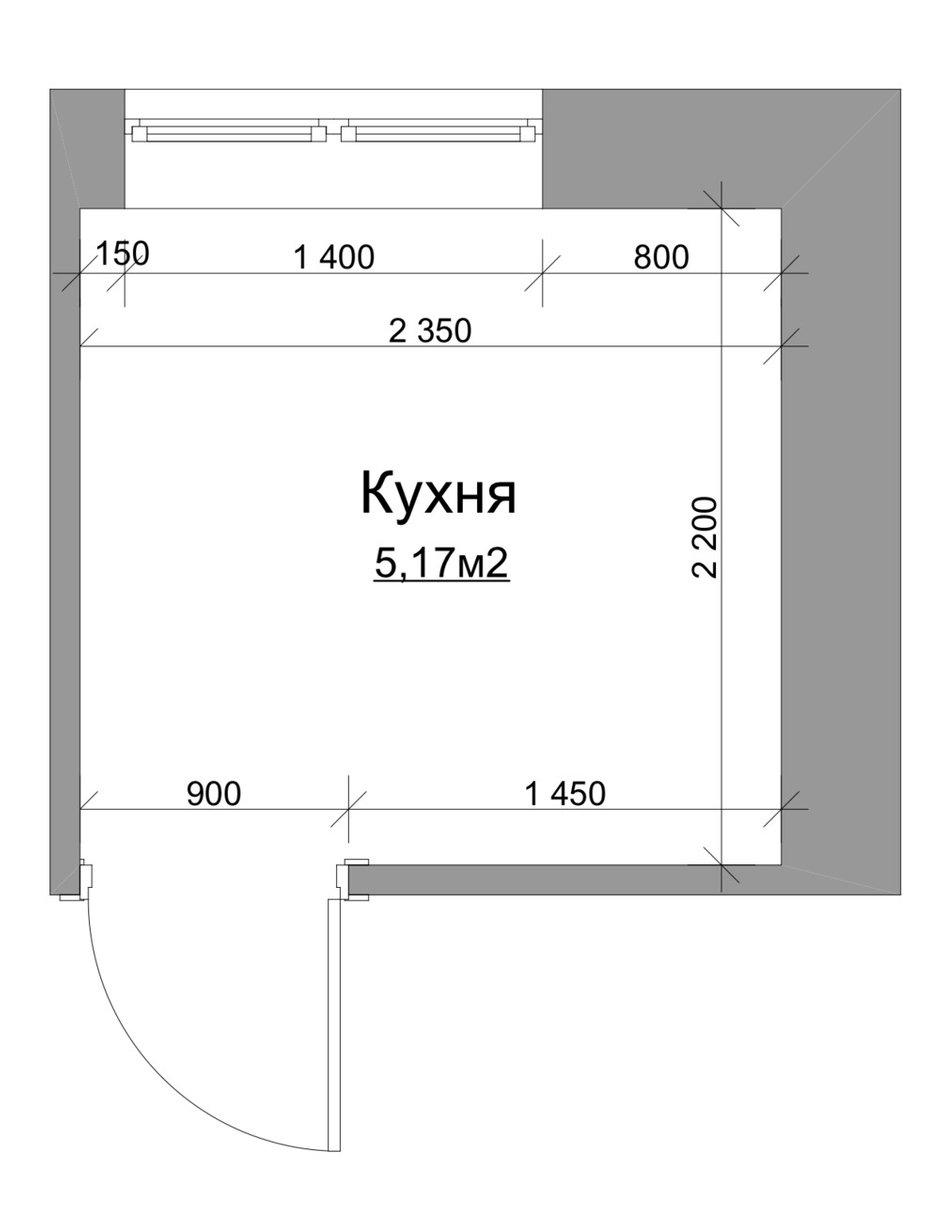 Кухня в хрущевке серии 1-515/5 площадью 5 кв. м, общая площадь квартиры 32 кв. м