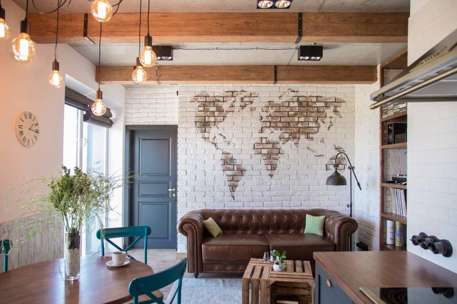 Фотография: Гостиная в стиле Лофт, Квартира, Украина, Проект недели, Монолитный дом, 3 комнаты, 60-90 метров, Роман Луценко, Днепр – фото на INMYROOM