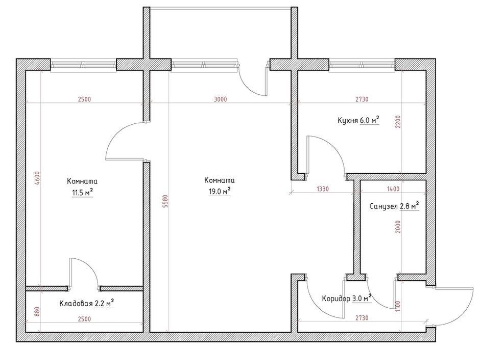 Двухкомнатная квартира в доме серии 1–464. Обмерный план